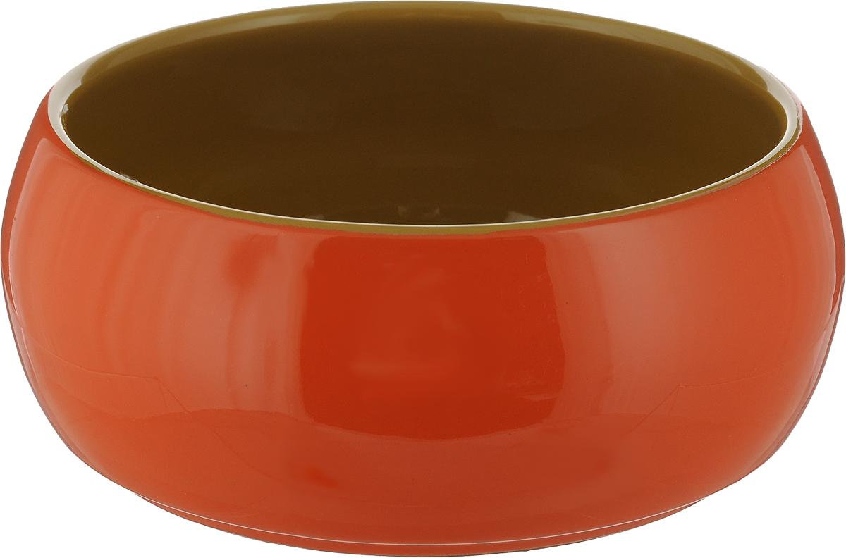 Судок для запекания Борисовская керамика Русский, цвет: оранжевый, 900 мл