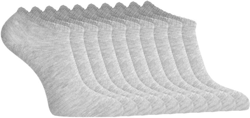 Носки женские oodji, цвет: светло-серый, 10 пар. 57102433T10/47469/2001M. Размер 35/3757102433T10/47469/2001MКомплект из 10 пар укороченных носков от oodji. Верх носка оформлен узкой трикотажной резинкой, которая прекрасно фиксирует его на ноге, но при этом не сдавливает кожу и не вызывает дискомфорта. Трикотаж с большим содержанием хлопка дышит, не вызывает раздражений, прекрасно отводит влагу. Благодаря добавлению эластана носки более эластичны, отлично держат форму после стирок и не дают усадки. В таких носках вам будет приятно весь день. Практичный комплект из 10 пар одинаковых носков прекрасно впишется в любой гардероб. С таким комплектом вы всегда будете уверены в том, что в запасе есть чистые носки. Большой набор с одинаковыми носками удобен еще и тем, что можно реже стирать, а с сортировкой выстиранных носков не будет проблем. Короткие носки прекрасно подходят для любой закрытой обуви. Их можно надеть с кедами, кроссовками, ботинками и сапогами. В них вам будет комфортно и тепло!