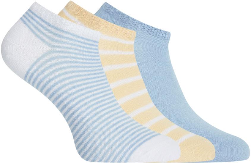 Носки женские oodji, цвет: белый, бежевый, голубой, 3 пары. 57102433T3/47469/19S6S. Размер 38/40