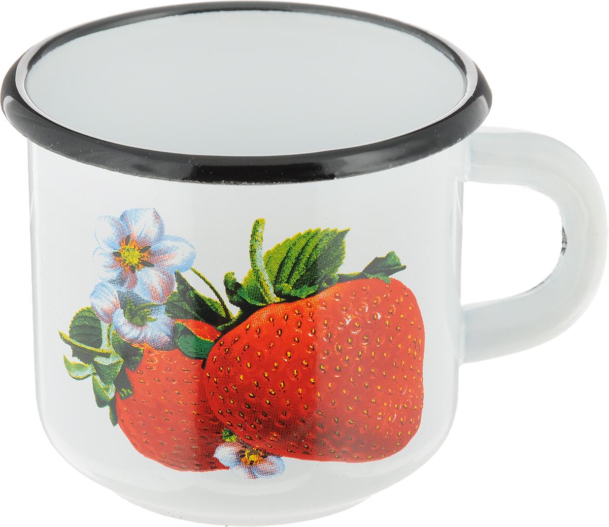 Кружка эмалированная СтальЭмаль Клубника, цвет: белый, красный, 250 мл