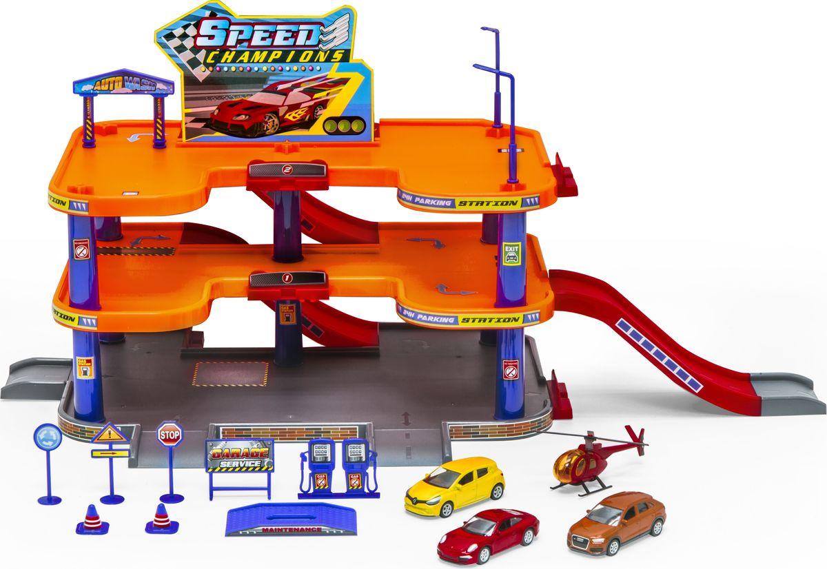 Welly Игровой набор Гараж с 3 машинами и вертолетом 96050 - Транспорт, машинки