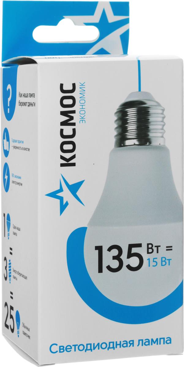 Лампа светодиодная Космос Экономик, 220V, А60, теплый свет, цоколь Е27, 15WLkecLED15wA60E2730Декоративная светодиодная лампа Экономик является аналогом лампы накаливания 135 Вт. В основе лампы используются чипы от мирового лидера Epistar- что обеспечивает надежную и стабильную работу в течение всего срока службы (25 000 часов). До 90% экономии энергии по сравнению с обычной лампой накаливания (сопоставимы по размеру). Стабильный световой поток в течение всего срока службы; экологическая безопасность (не содержит ртути и тяжелых металлов). Мягкое и равномерное распределение света повышает зрительный комфорт и снижает утомляемость глаз. Благодаря высокому индексу цветопередачи свет лампы комфортен и передает естественные цвета и оттенки. Инструкция по эксплуатации и гарантийный талон - в комплекте.