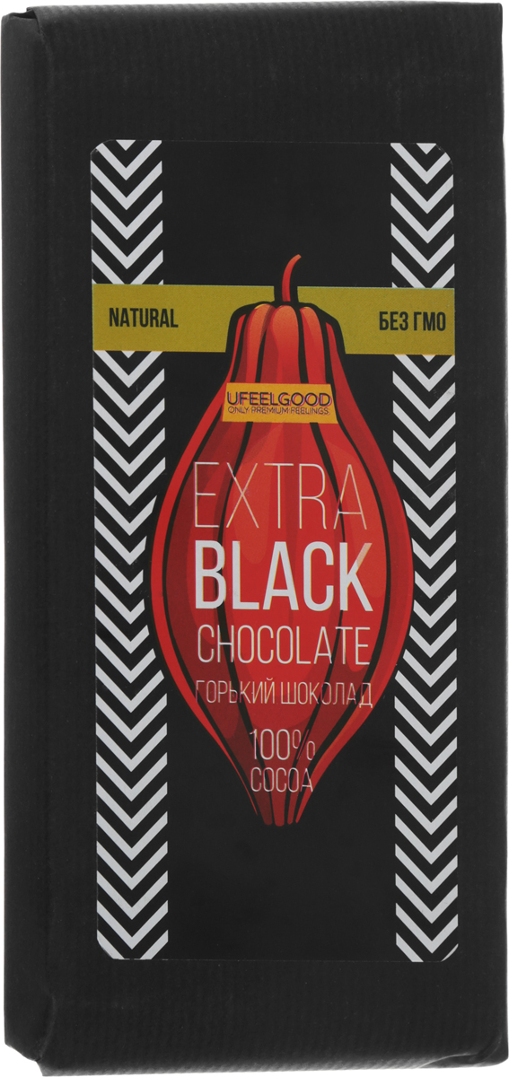 UFEELGOOD Extra Black Chocolate горький шоколад 100 %, 200 г ufeelgood organic mung beans органические мунг бобы 150 г