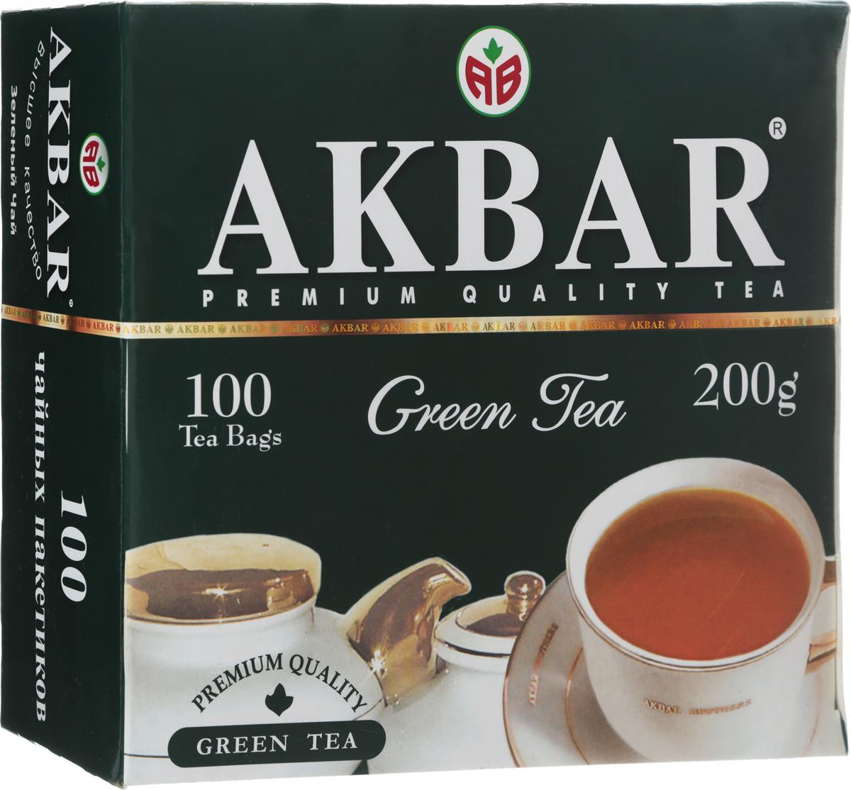 Akbar Green зеленый чай в пакетиках, 100 шт чай зеленый akbar green tea китайский пакетированный