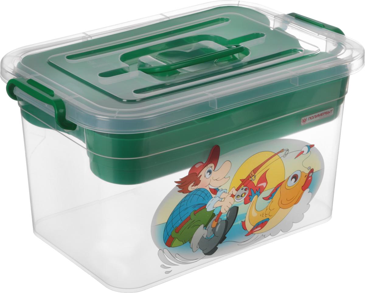 Контейнер для хранения Полимербыт Рыбалка, с вкладышем, цвет: зеленый, 10 л ящик для рыболовных принадлежностей onlitop цвет зеленый черный 38 х 24 х 37 см