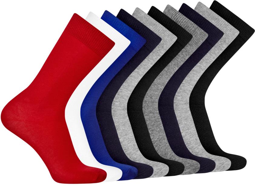 Носки мужские oodji Basic, цвет: красный, белый, синий, серый, черный, 10 пар. 7B203001T10/47469/1900N. Размер 40/437B203001T10/47469/1900NКомплект из десяти пар носков от oodji. Базовые носки смотрятся сдержанно и не привлекают к себе лишнего внимания. Именно такие носки подходят для повседневного и спортивного гардероба. Они приятны на ощупь, комфортны в ношении и практически не ощущаются на ногах. Трикотаж из хлопка с эластаном не раздражает кожу, хорошо отводит влагу. Большой практичный сет из десяти пар одинаковых носков впишется в любой гардероб. С таким набором вы всегда будете уверены в том, что у вас в запасе есть несколько чистых и свежих пар носков. А после стирки их легко сортировать. Носки отлично смотрятся со спортивной одеждой, джинсами и с закрытой обувью. Если у вас постоянно мерзнут ноги, такой комплект будет незаменим дома. Отличные базовые носки для любителей тепла и комфорта.
