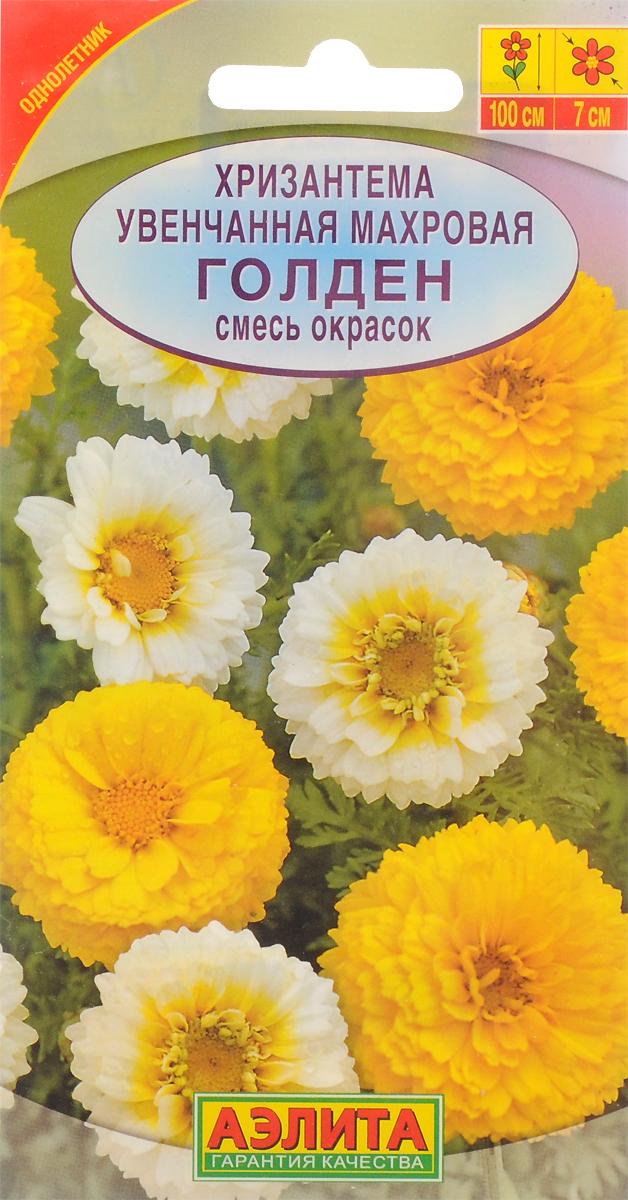 Семена Аэлита Хризантема увенчанная махровая. Голден. Смесь окрасок4601729000645Светолюбивое, холодостойкое и засухоустойчивое растение с густоветвистым, прямостоячим стеблем. Листья ланцетовидные, на верхушке с крупнозубчатыми лопастями. Соцветия-корзинки одиночные, махровые. Используется для оформления цветников и на срезку.Диаметр цветка 7 см.Посев в открытый грунт на постоянное место в мае, или под зиму в конце октября. С появлением всходов растения прореживают с шагом 25-30 см. Посев на рассаду в начале апреля ускоряет цветение на 2-3 недели. Хорошо развивается на нейтральных почвах легкого и среднего мехсостава, при солнечном местоположении. Благодарно реагирует на периодичность подкормки.Для продолжительного и обильного цветения растениям необходим своевременный полив, регулярная прополка, рыхление и подкормка минеральными удобрениями.Уважаемые клиенты! Обращаем ваше внимание на то, что упаковка может иметь несколько видов дизайна. Поставка осуществляется в зависимости от наличия на складе.