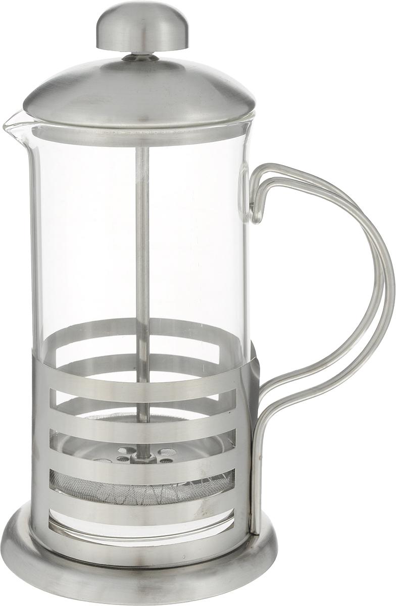 """Френч-пресс """"Guterwahl"""" с корпусом из стекла и нержавеющей стали предназначен для заваривания чая, приготовления кофе и других напитков. Колба изготовлена из жаропрочного стекла и имеет практичный носик, что препятствует образованию подтеков и делает френч-пресс еще более удобным в обращении. Благодаря прозрачности стекла, можно визуально оценить состояние заварки и ее крепость. Благодаря специальному поршню с встроенным фильтром, изготовленным из нержавеющей стали, напиток получается чистым и прозрачным. А нержавеющая сталь с вырезанными элементами, из которого изготовлен каркас френч-пресса, делает изделие ещё более привлекательным.  Френч-пресс прост в эксплуатации и уходе: он легко разбирается и моется.   Объем: 350 мл."""