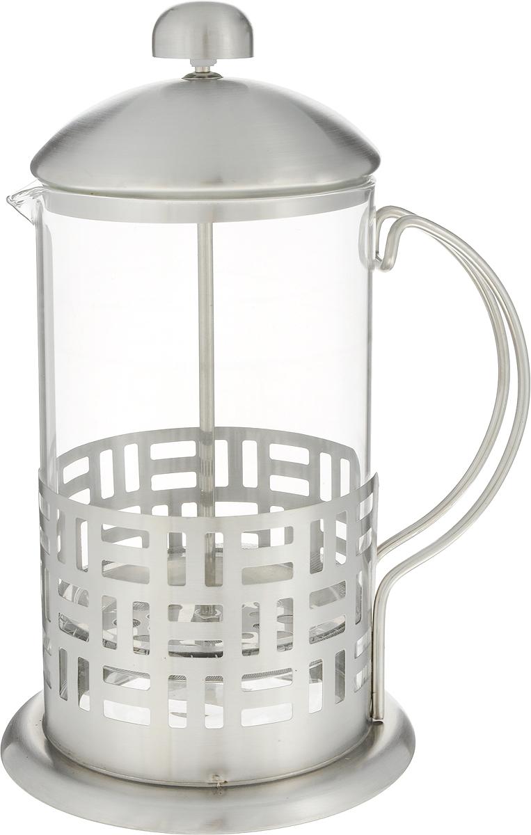 Френч-пресс Guterwahl, 800 мл. YM-014/800YM-014/800френч-пресс 800мл, деколированный, стекло, корпус из нержавеющей стали, цветная упаковка