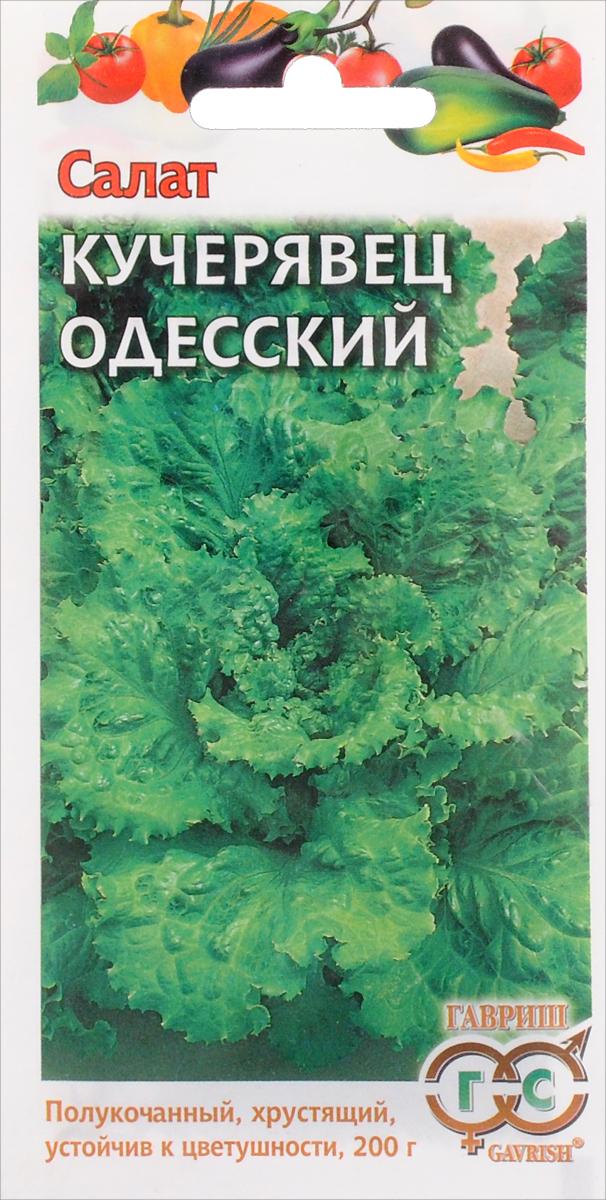 Семена Гавриш Салат кучерявец. Одесский4601431035577Среднеспелый (68-75 дней от всходов до уборки) сорт полукочанного типа. Розетка средней величины, рыхлая, диаметром 24-32 см, массой до 200 г. Лист веерообразный с гофрированным краем, хрустящей консистенции. Вкус отличный. Сорт устойчив к цветушности. Рекомендуется для выращивания в открытом грунте и пленочных укрытиях. Для непрерывного получения урожая с июня до осени посев в открытый грунт производят с апреля по август. Глубина заделки 1-2 см. На рассаду семена высевают в марте-апреле, высадку растений производят в мае-июне. Урожайность 2,7-5,0 кг/м2.Товар сертифицирован.Уважаемые клиенты! Обращаем ваше внимание на то, что упаковка может иметь несколько видов дизайна. Поставка осуществляется в зависимости от наличия на складе.