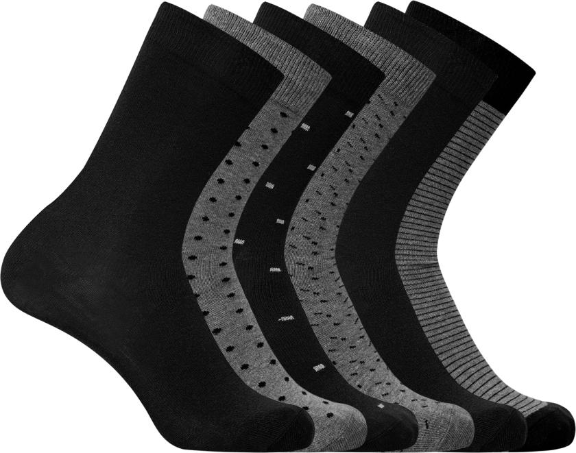 Носки мужские oodji, цвет: серый, черный, полоски, точки, 6 пар. 7B263002T6/47469/1900O. Размер 40/437B263002T6/47469/1900OНабор из шести пар базовых носков от oodji. Плотная трикотажная резинка надежна – носки не сползают в самый неподходящий момент и при этом комфортны в ношении. Вы практически не будете ощущать их на ногах. Плотный тонкий эластичный трикотаж приятен на ощупь и комфортен для ног. Комплект из шести пар одинаковых носков – отличное решение для любого гардероба. Такой набор практичен: носки можно реже стирать, у вас в запасе всегда будет хотя бы одна свежая пара. А что самое приятное, одинаковые носки удобно сортировать после стирки. Вы потратите на это утомительное занятие гораздо меньше времени! Базовые носки прекрасно подходят для делового, повседневного и спортивного гардероба. Их можно надеть, отправляясь на работу, пробежку или собираясь на вечеринку. Носки хорошо сочетаются с кроссовками, кедами и туфлями, при этом практически незаметны. С таким набором вы решите многие проблемы!