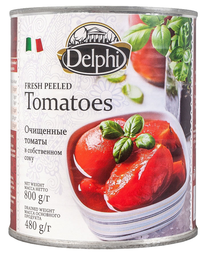 Delphi Томаты очищенные в собственном соку, 800 г arma томаты в собственном соку 450 мл