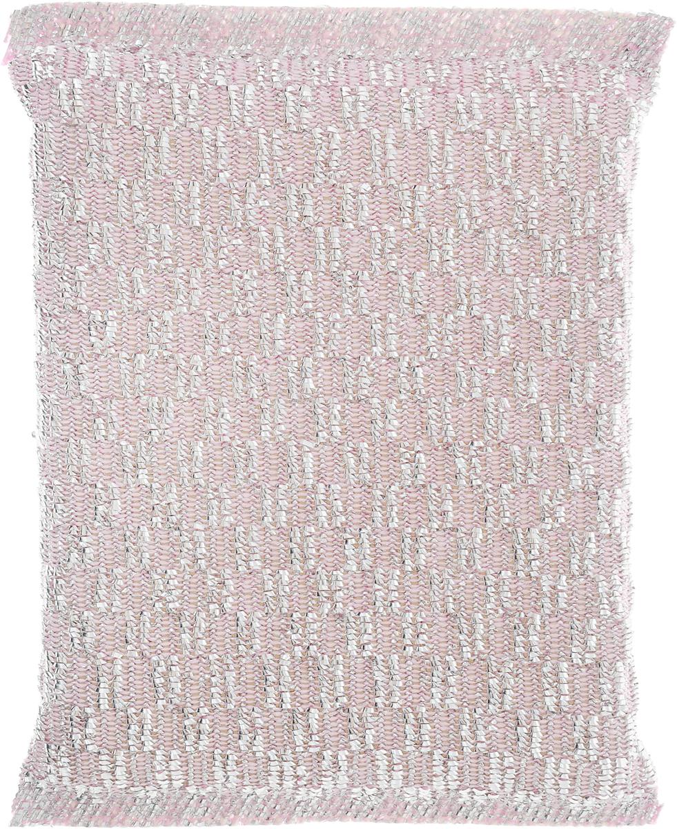 Губка для мытья посуды Home Queen, с металлизированной нитью, цвет: серебристый, розовый, 120 х 80 х 25 мм38_серебристый, розовыйГубка Home Queen изготовлена из поролона в чехле из полипропиленовой металлизированной нити. Предназначена для мытья посуды и очистки сильно загрязненных кухонных поверхностей. Позволяет экономить моющее средство, благодаря структуре поролона, который дает много пены при использовании.