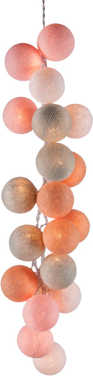 Гирлянда электрическая Гирляндус Перламутр, из ниток, LED, от батареек, 20 ламп, 3 м4670025841948Нежная гирлянда ручной работы. Каждый шарик сделан вручную из ниток и клея, светится приятным мягким светом. Шарики хрупкие, но даже если вы их помнёте, их всегда можно выправить. Инструкция прилагается.