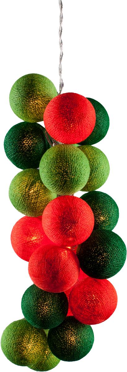 Гирлянда электрическая Гирляндус Паприка, из ниток, LED, 220В, 50 ламп, 7,5 м4670025843621Нежная гирлянда ручной работы. Каждый шарик сделан вручную из ниток и клея, светится приятным мягким светом. Шарики хрупкие, но даже если вы их помнёте, их всегда можно выправить. Инструкция прилагается.