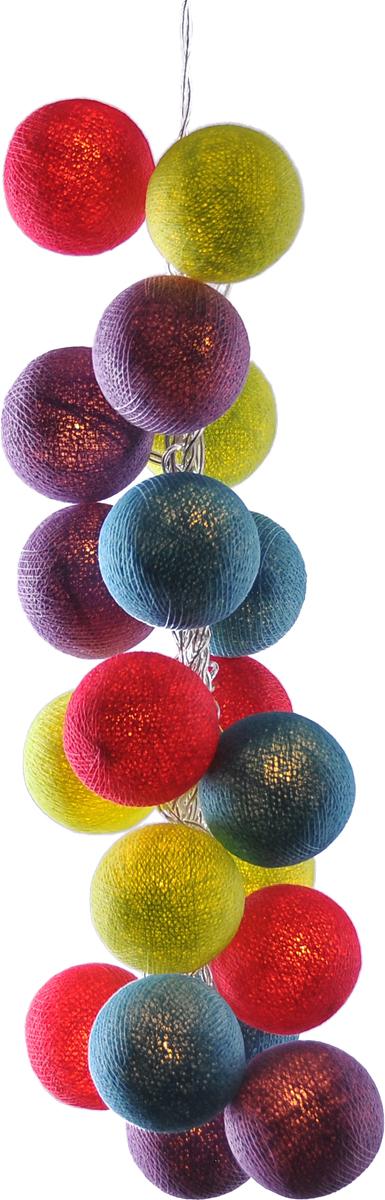 Гирлянда электрическая Гирляндус Неон, из ниток, LED, 220В, 50 ламп, 7,5 м4670025843560Нежная гирлянда ручной работы. Каждый шарик сделан вручную из ниток и клея, светится приятным мягким светом. Шарики хрупкие, но даже если вы их помнёте, их всегда можно выправить. Инструкция прилагается.