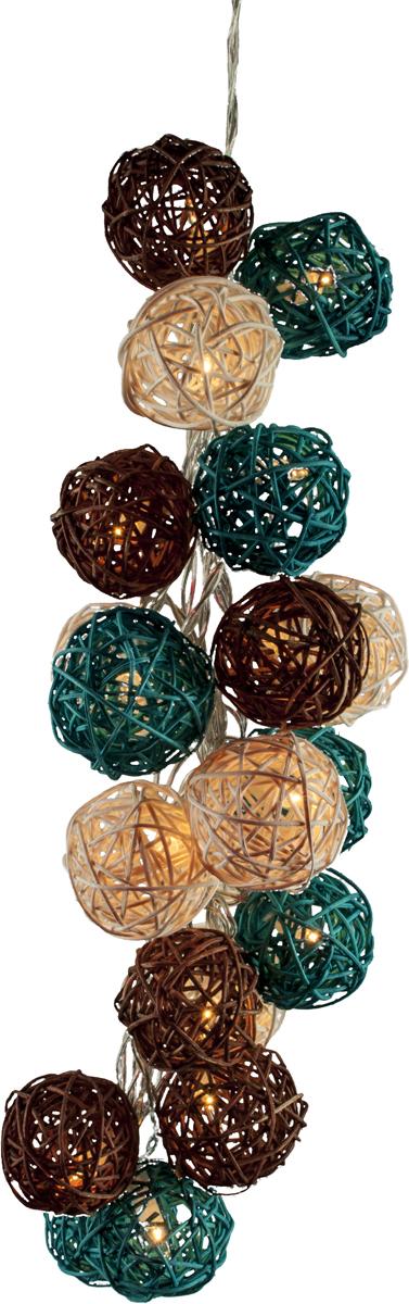 Гирлянда электрическая Гирляндус Мятный шоколад, ротанг, 220В, 20 ламп, 3 м4670025842785Интерьерная гирлянда ручной работы. Шарики изготовлены из ротанговых прутиков вручную и окрашены натуральными красителями. При размещении возле стены они отбрасывают красивые узорные тени, подчёркивающие любой интерьер. В гирлянде используются низковольтные лампочки. Запасные лампочки и инструкция - в комплекте. Общая длина гирлянды - 4.2 метра. Длина гирлянды от первого шарика до последнего - 3 метра.