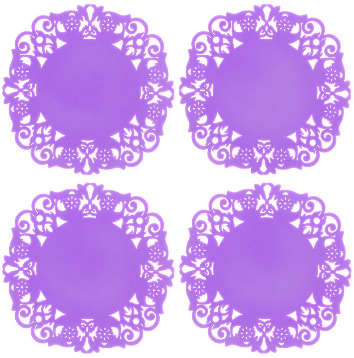 Набор подставок под горячее Доляна Чаепитие, цвет: сиреневый, 10 см, 4 шт812066Набор Доляна Чаепитие состоит из 4 силиконовых подставок под горячее. Силиконовая подставка под горячее - практичный предмет, который обязательно пригодится в хозяйстве. Изделие поможет сберечь столы, тумбы, скатерти и клеёнки от повреждения нагретыми кружками с горячим напитком, чайниками и тарелками.