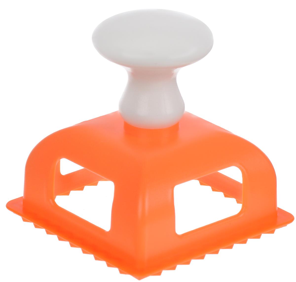 Форма для пельменей Мультидом Квадрат, цвет: оранжевый, 7 x 7 см форма для пельменей мультидом квадрат цвет желтый