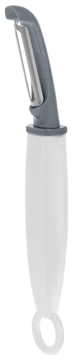 Овощечистка Attribute Gadget Viva Grey, вертикальнаяAGV041Овощечистка Attribute Gadget Viva Grey изготовлена из прочного пластика, а двойное лезвие - из высококачественной нержавеющей стали. Заостренный кончик овощечистки удобен для удаления глазков при очистки картофеля. Отлично подходит для быстрой и легкой очистки овощей и фруктов, срезая кожуру более тонким слоем,сохраняя максимум витаминов плода. Эргономичная ручка оснащена кольцом для практичного хранения на кухне.
