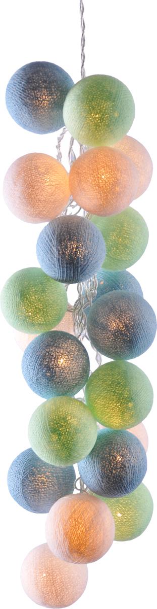 Гирлянда электрическая Гирляндус Мистраль, из ниток, LED, 220В, 50 ламп, 7,5 м4670025840293Нежная гирлянда ручной работы. Каждый шарик сделан вручную из ниток и клея, светится приятным мягким светом. Шарики хрупкие, но даже если вы их помнёте, их всегда можно выправить. Инструкция прилагается.