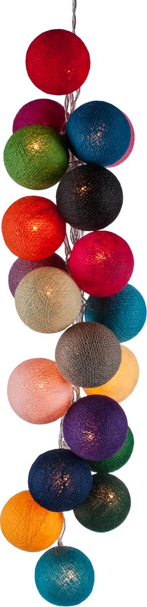 Гирлянда электрическая Гирляндус Микс, из ниток, LED, 220В, 50 ламп, 7,5 м4670025843454Нежная гирлянда ручной работы. Каждый шарик сделан вручную из ниток и клея, светится приятным мягким светом. Шарики хрупкие, но даже если вы их помнёте, их всегда можно выправить. Инструкция прилагается.