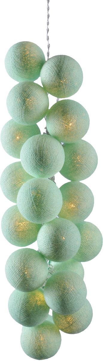 Гирлянда электрическая Гирляндус Ментол, из ниток, LED, 220В, 10 ламп, 1,5 м4670025841207Нежная гирлянда ручной работы. Каждый шарик сделан вручную из ниток и клея, светится приятным мягким светом. Шарики хрупкие, но даже если вы их помнёте, их всегда можно выправить. Инструкция прилагается.
