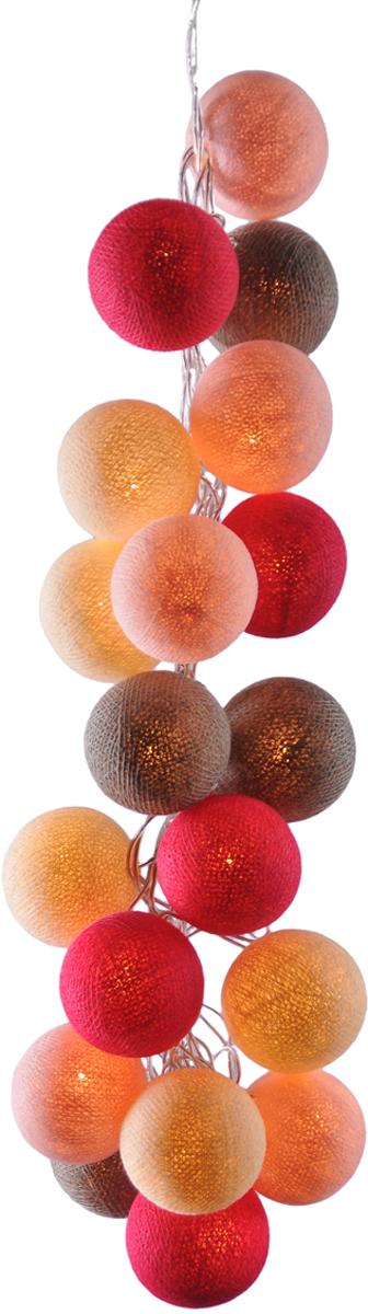 Гирлянда электрическая Гирляндус Манга, из ниток, LED, 220В, 50 ламп, 7,5 м4670025843379Нежная гирлянда ручной работы. Каждый шарик сделан вручную из ниток и клея, светится приятным мягким светом. Шарики хрупкие, но даже если вы их помнёте, их всегда можно выправить. Инструкция прилагается.