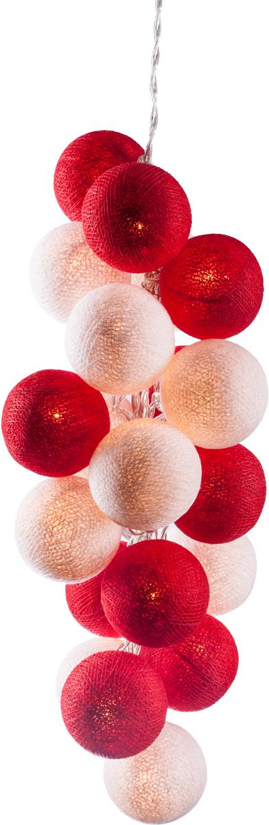 Гирлянда электрическая Гирляндус Красное и белое, из ниток, LED, от батареек, 10 ламп, 1,5 м4670025840590Нежная гирлянда ручной работы. Каждый шарик сделан вручную из ниток и клея, светится приятным мягким светом. Шарики хрупкие, но даже если вы их помнёте, их всегда можно выправить. Инструкция прилагается.