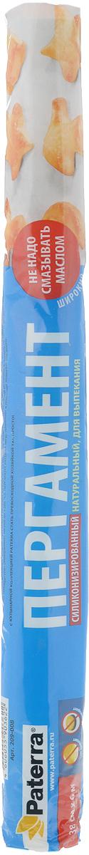 Бумага для выпекания Paterra, с двухсторонней силиконизацией, цвет: белый, 38 см х 6 м209_008Бумага для выпекания Paterra обладает двусторонней силиконизацией, что обеспечивает не прилипание продукта к бумаге во время приготовления. Изготовлена из 100% целлюлозы.Противень не нужно смазывать маслом. Можно использовать также для упаковки продуктов.Длина: 6 м. Ширина рулона: 38 см.