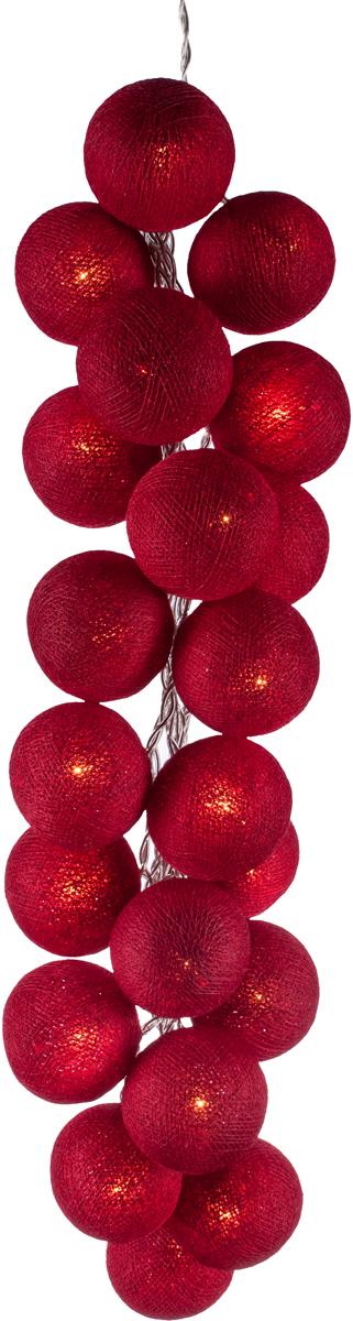Гирлянда электрическая Гирляндус Клюква, из ниток, LED, 220В, 50 ламп, 7,5 м4670025843249Нежная гирлянда ручной работы. Каждый шарик сделан вручную из ниток и клея, светится приятным мягким светом. Шарики хрупкие, но даже если вы их помнёте, их всегда можно выправить. Инструкция прилагается.
