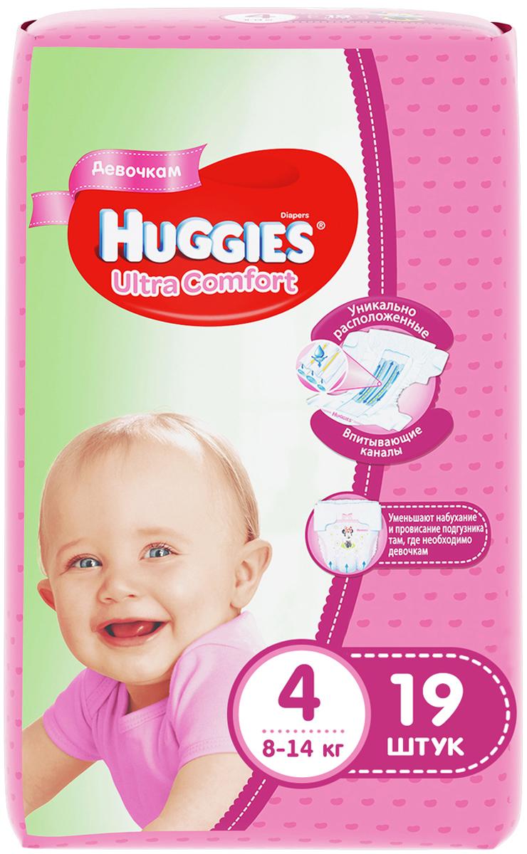 Huggies Подгузники для девочек Ultra Comfort 8-14 кг (размер 4) 19 шт