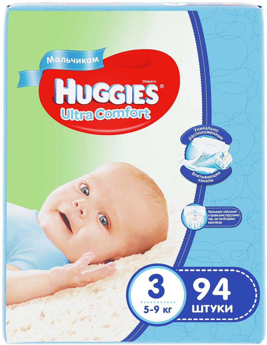 Huggies Подгузники для мальчиков Ultra Comfort 5-9 кг (размер 3) 94 шт