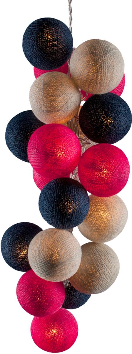 Гирлянда электрическая Гирляндус Вернисаж, из ниток, LED, от батареек, 20 ламп, 3 м4670025841597Нежная гирлянда ручной работы. Каждый шарик сделан вручную из ниток и клея, светится приятным мягким светом. Шарики хрупкие, но даже если вы их помнёте, их всегда можно выправить. Инструкция прилагается.