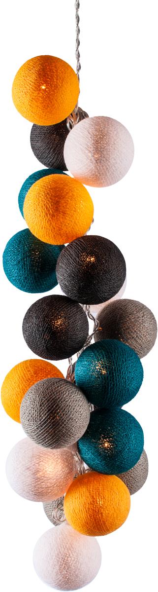 Гирлянда электрическая Гирляндус Венеция, из ниток, LED, 220В, 50 ламп, 7,5 м4670025842952Нежная гирлянда ручной работы. Каждый шарик сделан вручную из ниток и клея, светится приятным мягким светом. Шарики хрупкие, но даже если вы их помнёте, их всегда можно выправить. Инструкция прилагается.