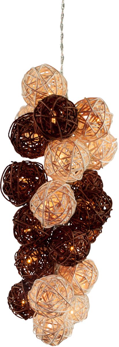 Гирлянда электрическая Гирляндус Белый шоколад, ротанг, LED, от батареек, 10 ламп, 1,5 м4670025840385Интерьерная гирлянда ручной работы. Шарики изготовлены из ротанговых прутиков вручную и окрашены натуральными красителями. При размещении возле стены они отбрасывают красивые узорные тени, подчёркивающие любой интерьер. В гирлянде используются низковольтные лампочки. Запасные лампочки и инструкция - в комплекте.
