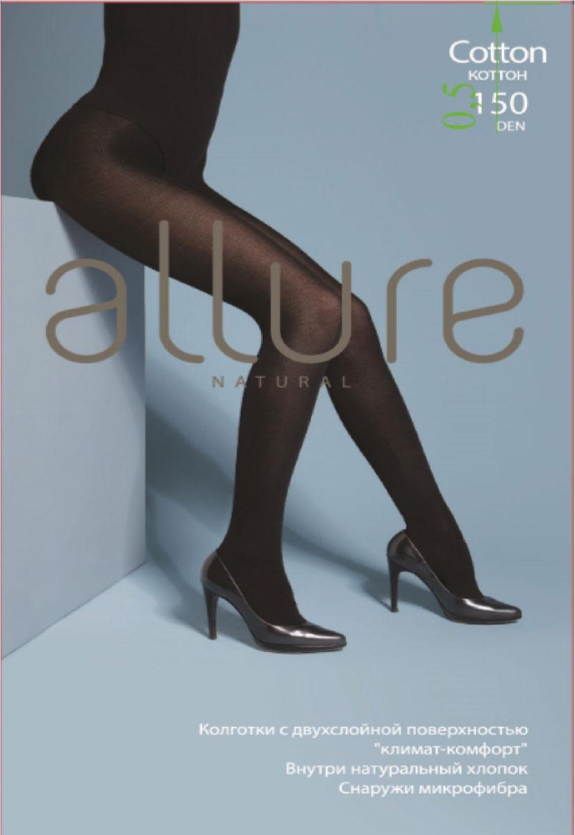 Колготки Allure Cotton 150, цвет: Nero (черный). Размер 5 колготки allure allure mp002xw134cf