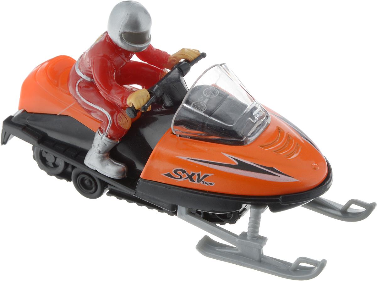 ТехноПарк Снегоход с фигуркой цвет оранжевый