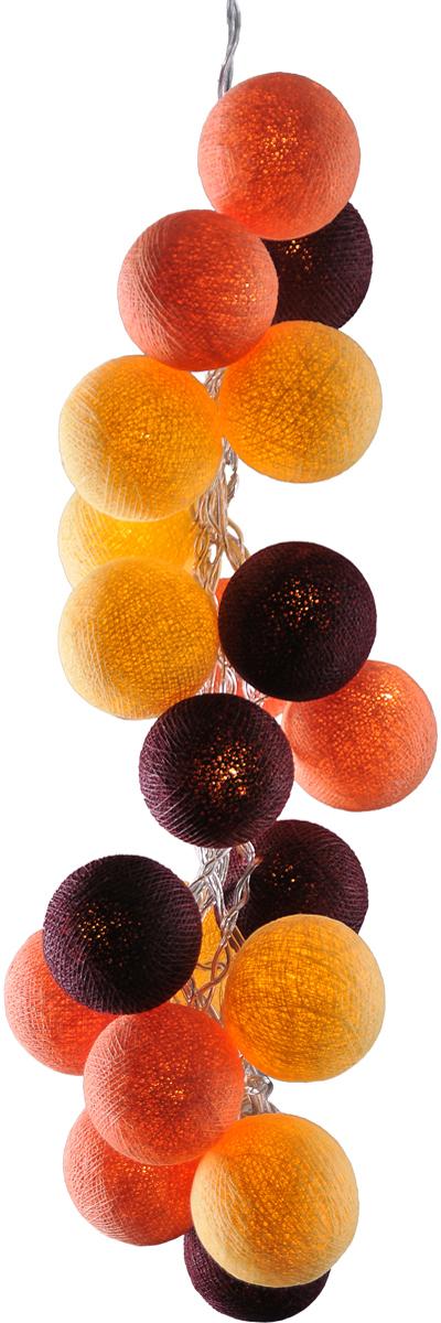 Гирлянда электрическая Гирляндус Амаретто, из ниток, LED, 220В, 20 ламп, 3 м4670025842150Нежная гирлянда ручной работы. Каждый шарик сделан вручную из ниток и клея, светится приятным мягким светом. Шарики хрупкие, но даже если вы их помнёте, их всегда можно выправить. Инструкция прилагается.