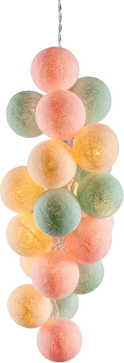 Гирлянда электрическая Гирляндус Бабл-гам, из ниток, LED, 220В, 50 ламп, 7,5 м4670025842877Нежная гирлянда ручной работы. Каждый шарик сделан вручную из ниток и клея, светится приятным мягким светом. Шарики хрупкие, но даже если вы их помнёте, их всегда можно выправить. Инструкция прилагается.