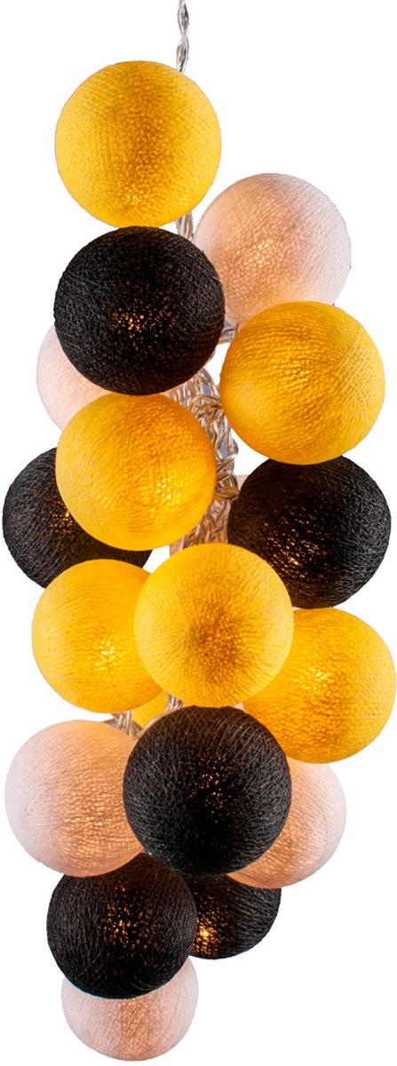 Гирлянда электрическая Гирляндус Банан на асфальте, из ниток, LED, 220В, 20 ламп, 3 м4670025842174Нежная гирлянда ручной работы. Каждый шарик сделан вручную из ниток и клея, светится приятным мягким светом. Шарики хрупкие, но даже если вы их помнёте, их всегда можно выправить. Инструкция прилагается.