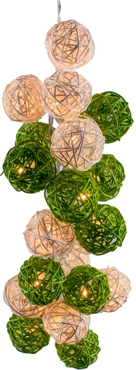 Гирлянда электрическая Гирляндус Бело-зеленые, ротанг, LED, от батареек, 10 ламп, 1,5 м4670025844864Интерьерная гирлянда ручной работы. Шарики изготовлены из ротанговых прутиков вручную и окрашены натуральными красителями. При размещении возле стены они отбрасывают красивые узорные тени, подчёркивающие любой интерьер. В гирлянде используются низковольтные лампочки. Запасные лампочки и инструкция - в комплекте.