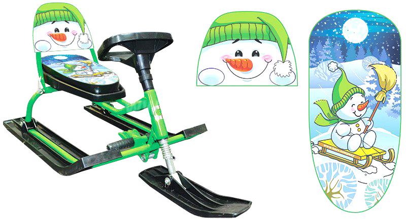Снегокат детский Барс Comfort Снеговик, со складной спинкой, цвет: зеленый1409713Снегокат Барс Comfort Снеговик – новый дизайн с мягким сиденьем и складной спинкой. Его современная конструкция обеспечивает малышу возрастом от 2-х лет комфорт и безопасность во время катания. Имеется амортизатор на передней лыже который сглаживает тряску на ухабах, широкие устойчивые лыжи снижают риск перевернуться, тормоз в виде металлической пластины с зубцами позволяет контролировать движения. Пластмасса, из которой выполнены лыжи и руль, выдерживает морозы до -40 градусов, а прочный металлический каркас выдерживает нагрузку до 100 кг. Спинка складывается, чехол снимается. В комплект входит буксировочный трос.
