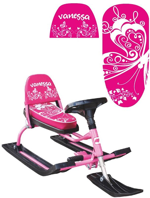 Снегокат Барс  Comfort. Ванесса , со складной спинкой, цвет: розовый - Катаемся с горки