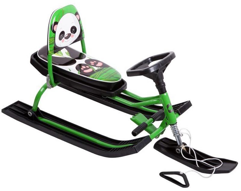 Снегокат детский Барс  Comfort Animals. Панда , со складной спинкой, цвет: зеленый - Катаемся с горки