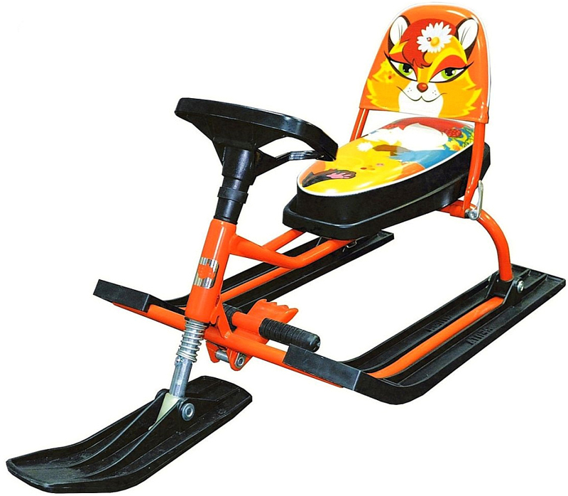 Снегокат детский Барс  Comfort Animals. Лиса , со складной спинкой, цвет: оранжевый - Катаемся с горки