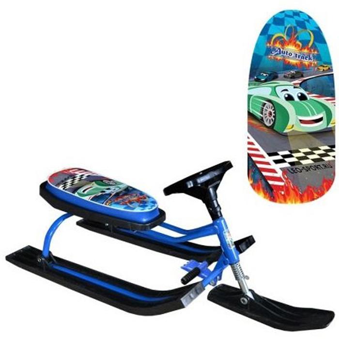 Снегокат детский Барс Race. Auto Track, цвет: синий1425890Отличный снегокат Барс Race. Auto Track станет отличным подарком вашему ребенку, даря ему незабываемые впечатления! Пластик, из которого выполнены лыжи и руль, выдерживает морозы до -40 градусов, а прочный металлический каркас - выдерживает нагрузку до 100 кг. Изделие оснащено мягким сиденьем, оформленным ярким принтом. На снегокате Барс Race. Auto Track ваш ребенок будет чувствовать себя комфортно и безопасно, а прогулки станут веселее и интереснее.