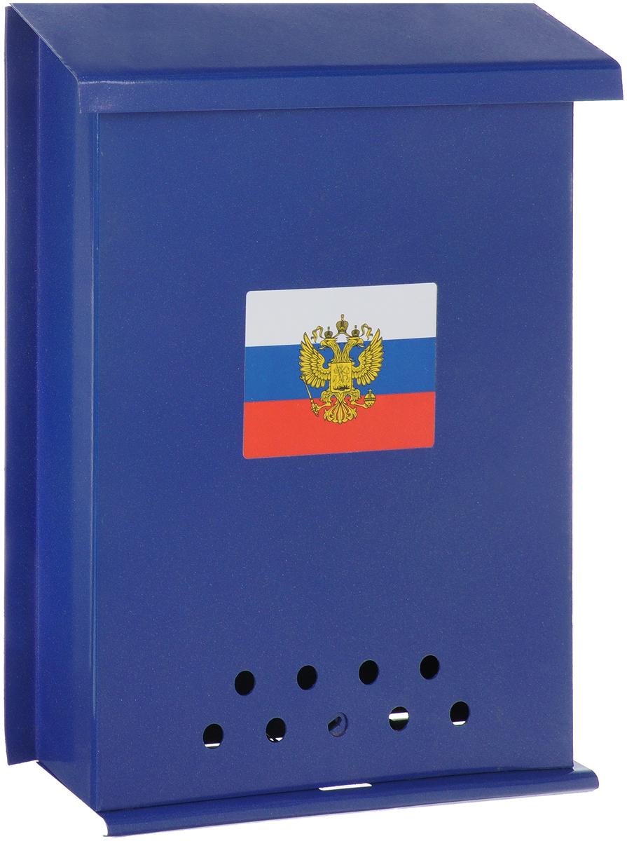 Ящик почтовый Почта, с защелкой, цвет: синий, 6 х 26 х 33 см ящик почтовый пакс пм 5