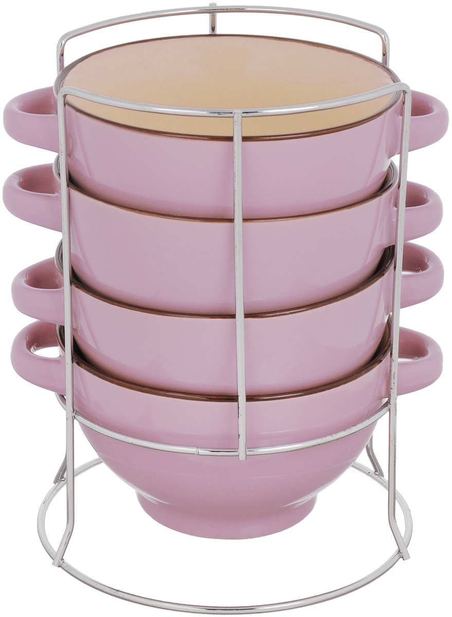Набор бульонниц Loraine, на подставке, цвет: сиреневый, бежевый, 420 мл , 5 предметов22577Для хозяек предпочитающих современный и яркий дизайн, эти супницы будут отличным кухонным сервизом. Чашки выполнены из биокерамики. Набор очень удобен в использовании, по бокам чаш расположены ручки, благодаря подставке он очень компактно расположится на вашей кухне. Бульонницы являются экологически безопасными, так как не содержат кадмия и свинца.
