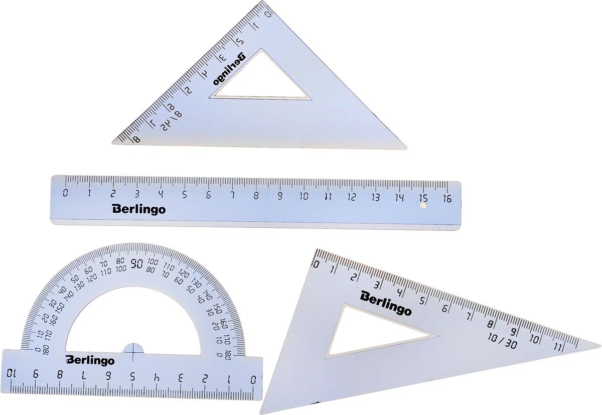 Berlingo Геометрический набор малый цвет прозрачный 4 предметаRS_00104Геометрический набор Berlingo выполнен из полупрозрачного голубого пластика.Набор включает в себя все, что необходимо школьнику: линейку 15 см, транспортир на 180° градусов, треугольник 30°,60°, 11 см и треугольник 45°,45°, 8 см.Каждый чертежный инструмент имеет свои функциональные особенности, что делает работу с ними особенно удобной и легкой.